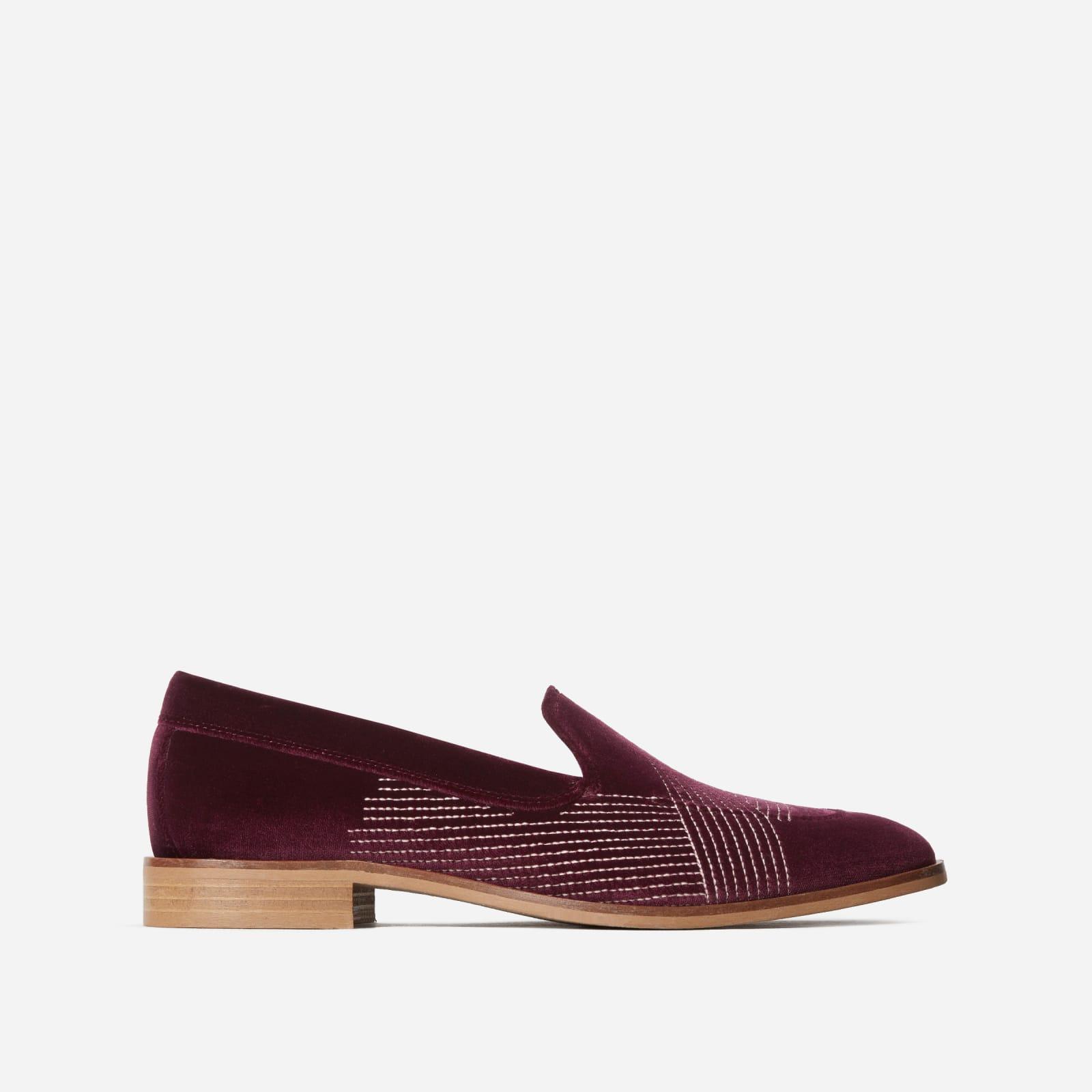 velvet modern loafer by everlane in burgundy velvet, size 5.5