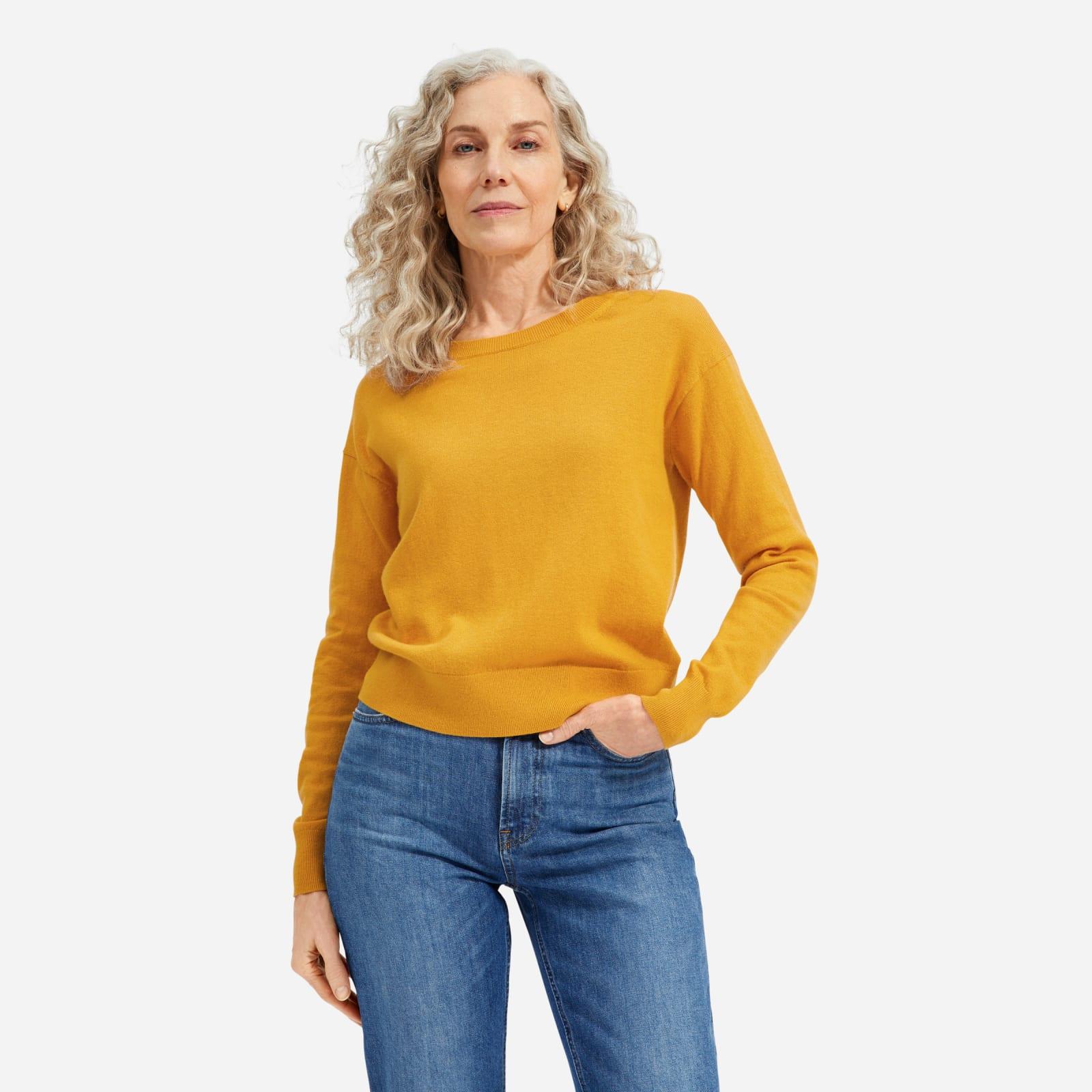 cotton–merino crew by everlane in marigold, size xxs