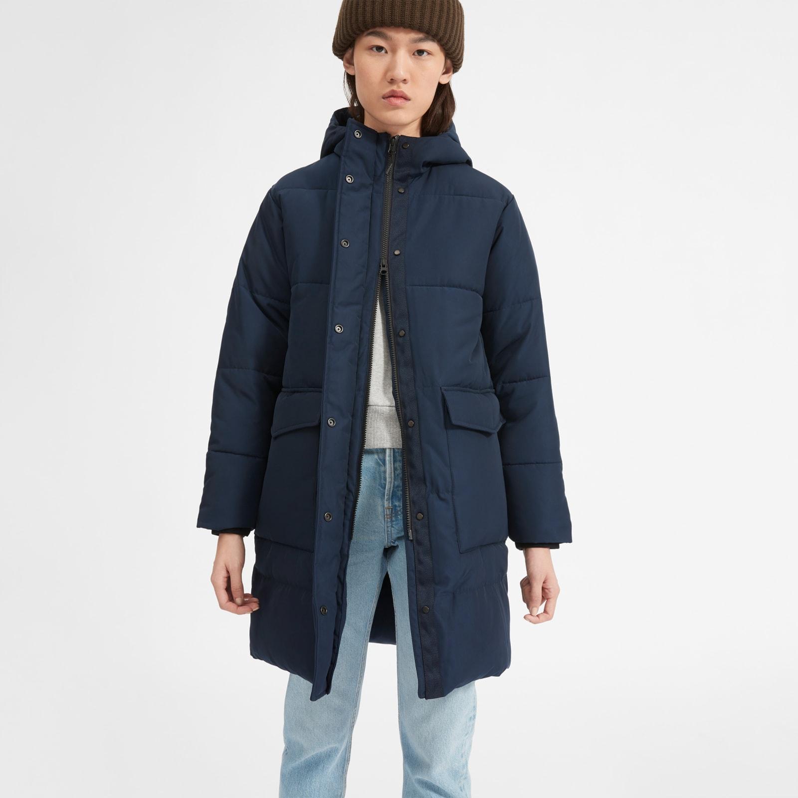 women's renew long puffer coat by everlane in true navy, size xxs