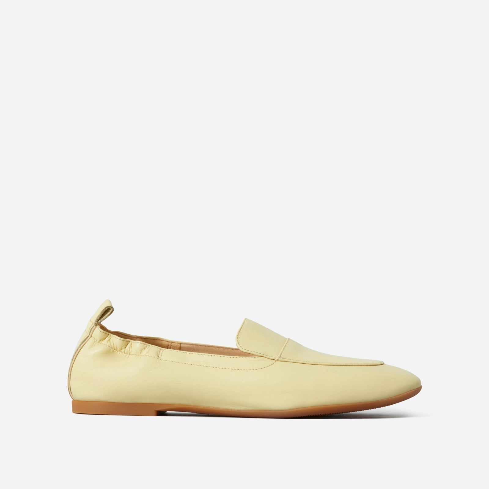 leather driving loafers by everlane in pale yellow, size 5