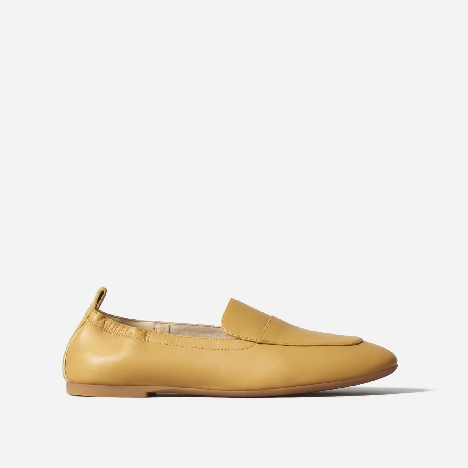leather driving loafers by everlane in mustard, size 5