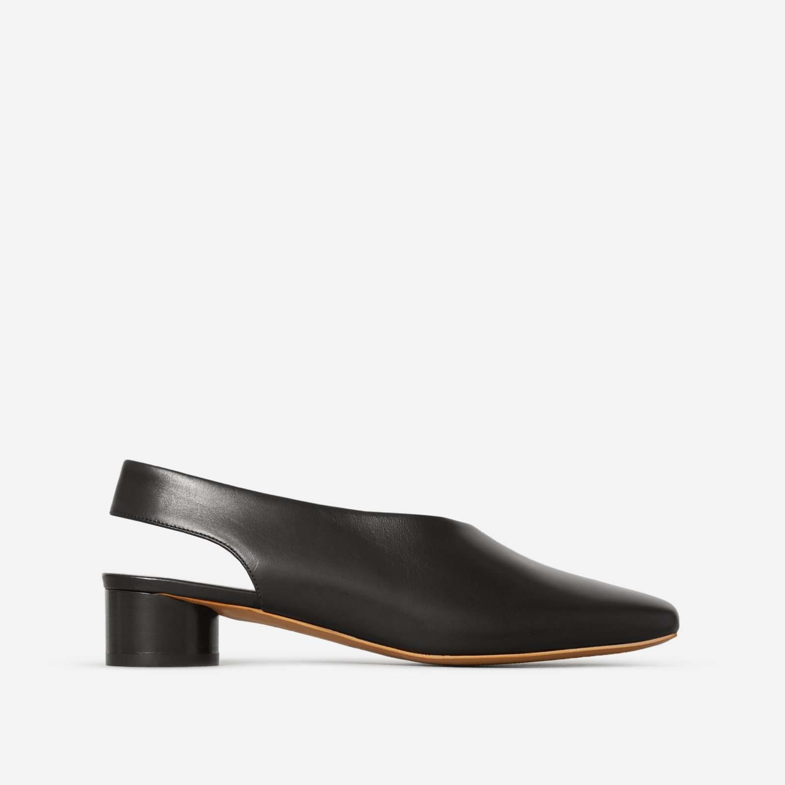 square toe slingback by everlane in black, size 5