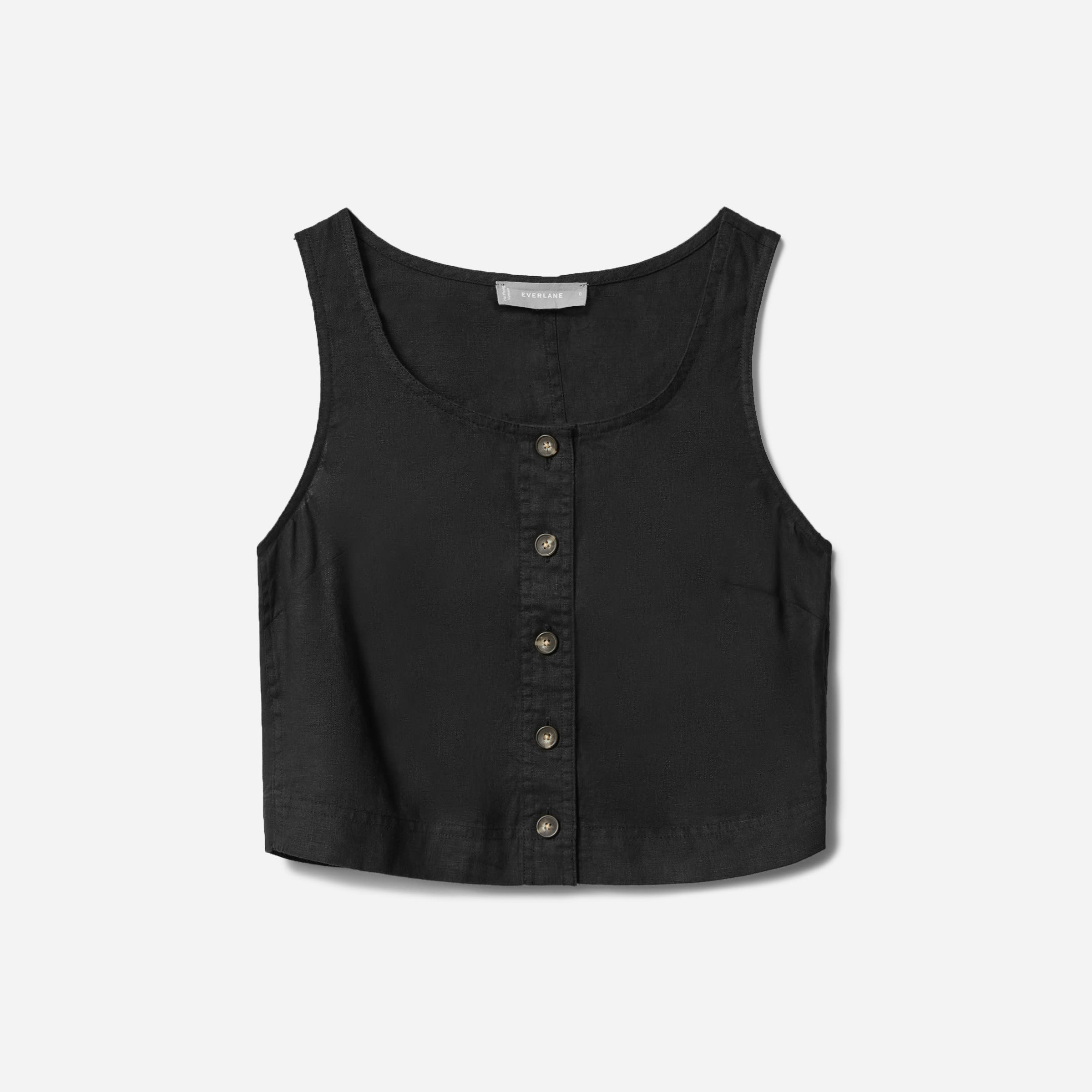 The Linen Button-Front Crop Tank | Everlane