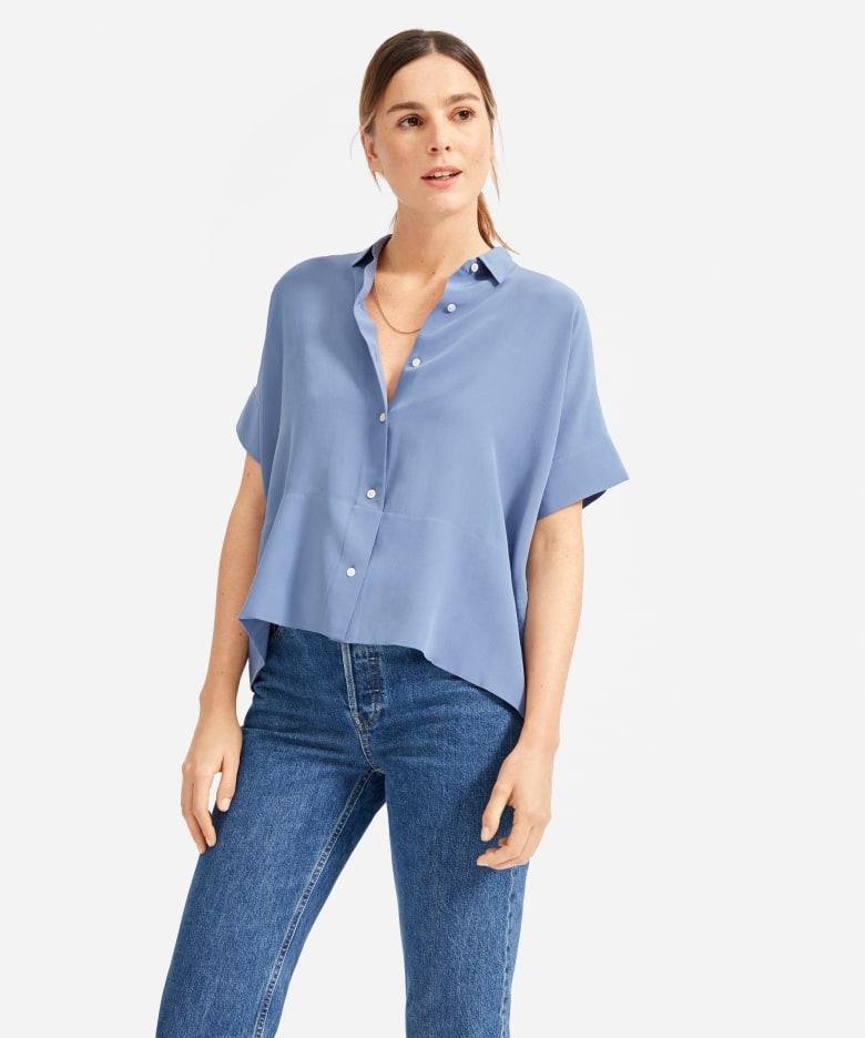 womens mustard yellow silk short sleeve button up blouse top shirt