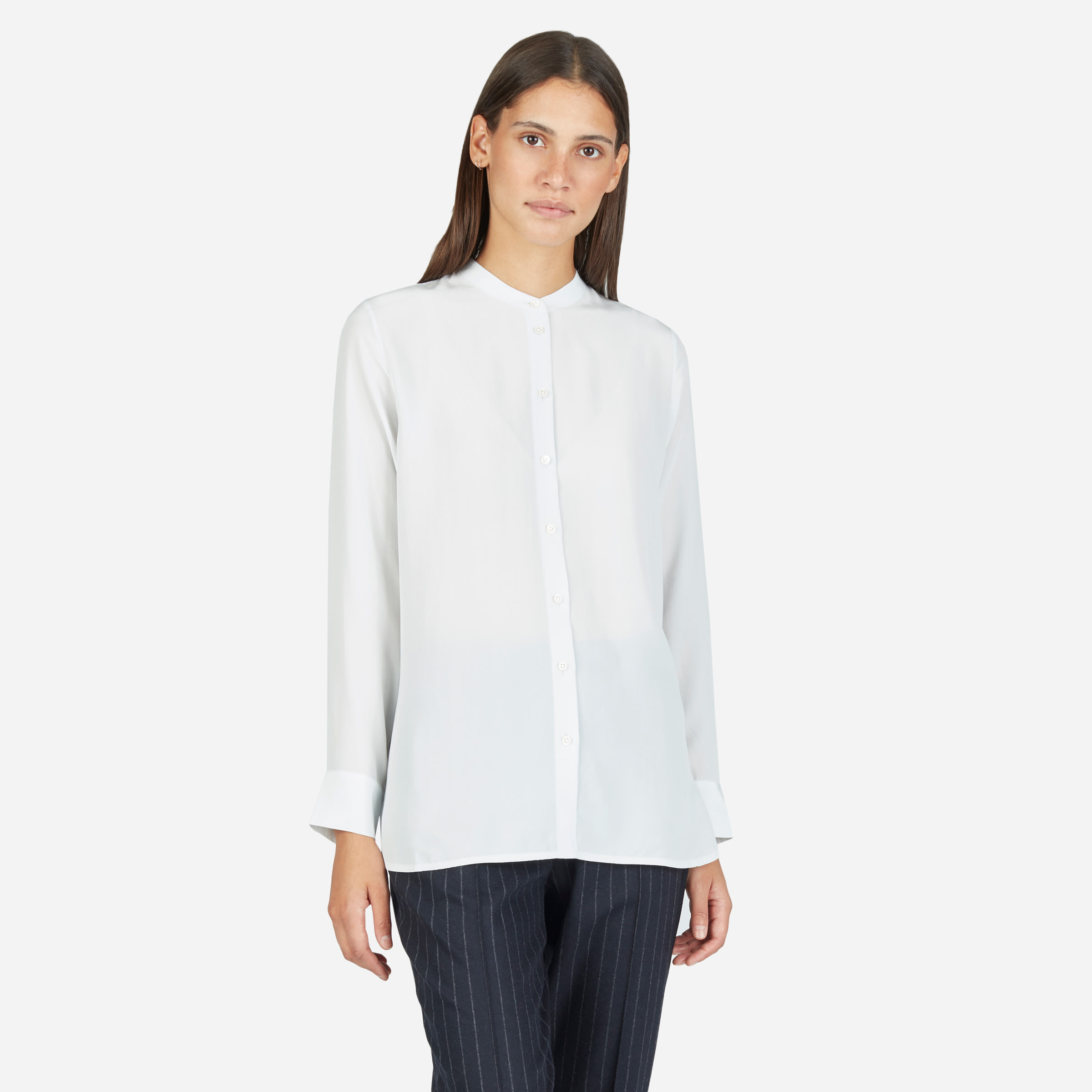 3c574a920b4adc The Relaxed Silk Collarless Shirt —  88