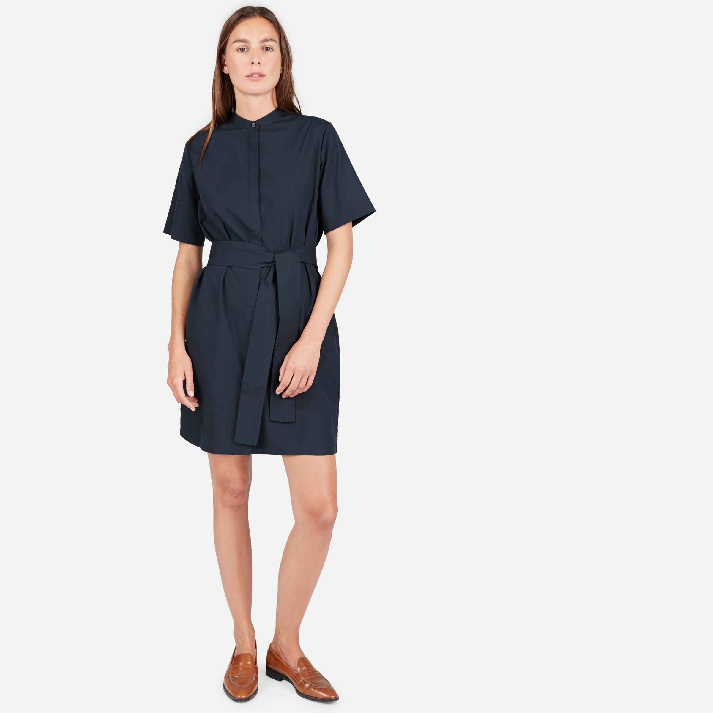 1a6cb0585ca Women s Cotton Collarless Belted Shirtdress