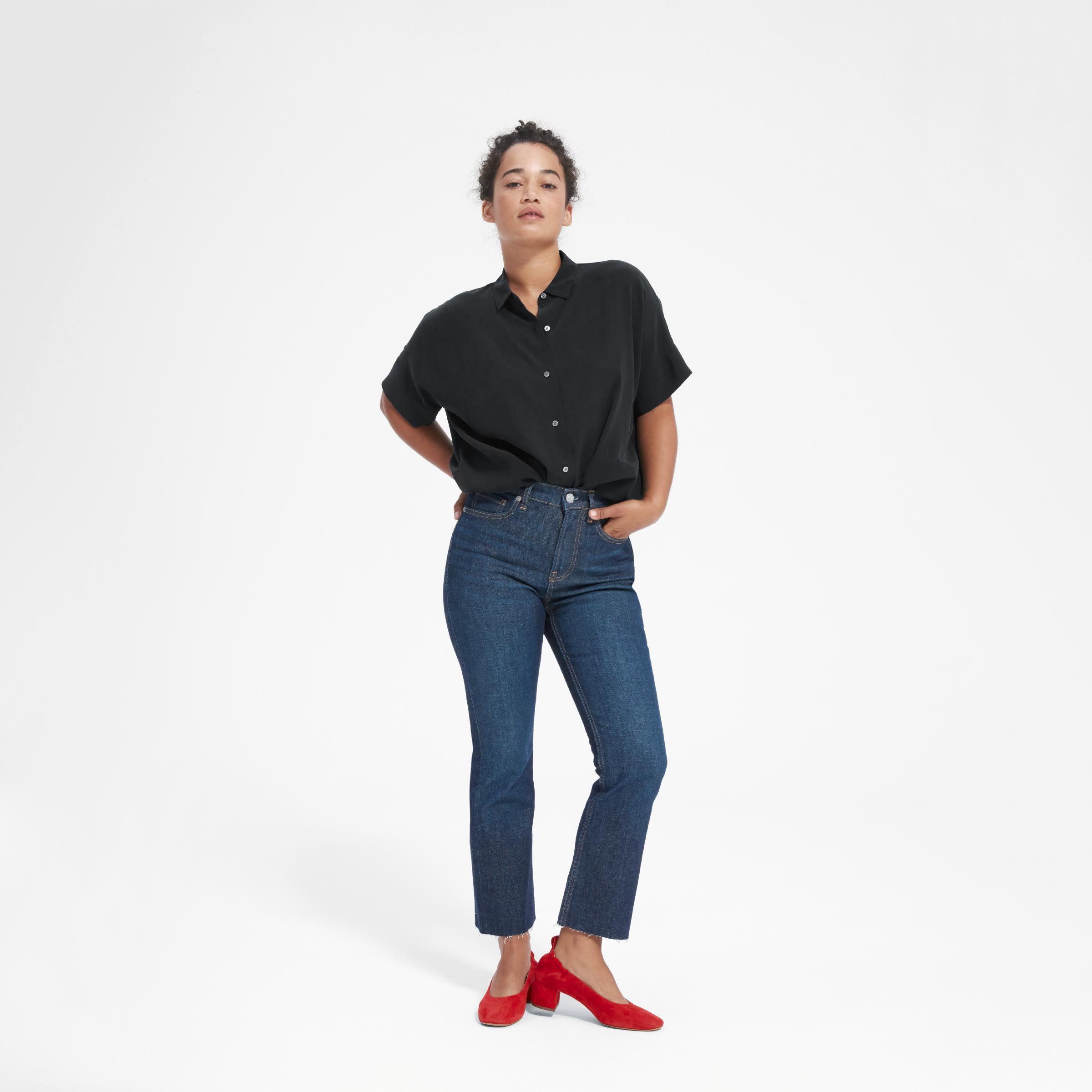 1542f82dacb075 Women s Clean Silk Short-Sleeve Square Shirt