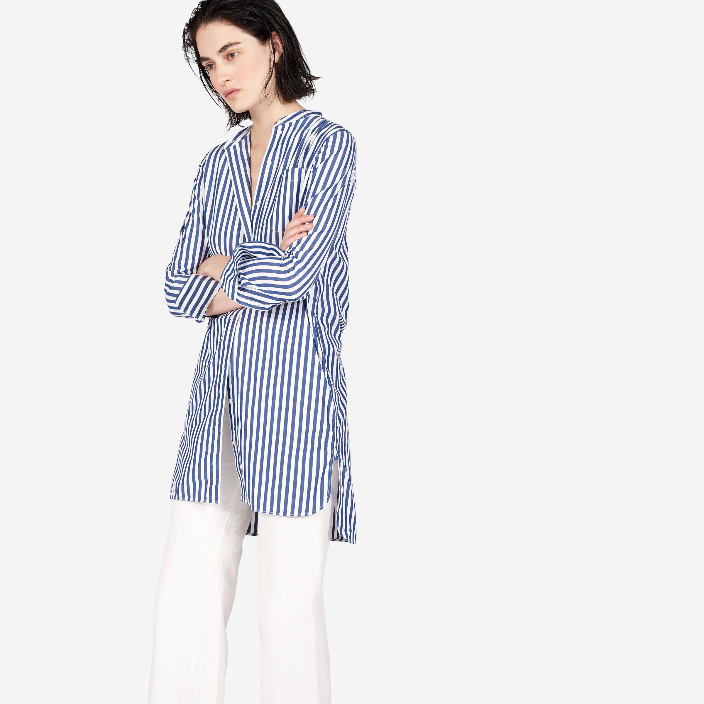 715f325fe9 Women s Cotton Poplin Collarless Shirt Dress