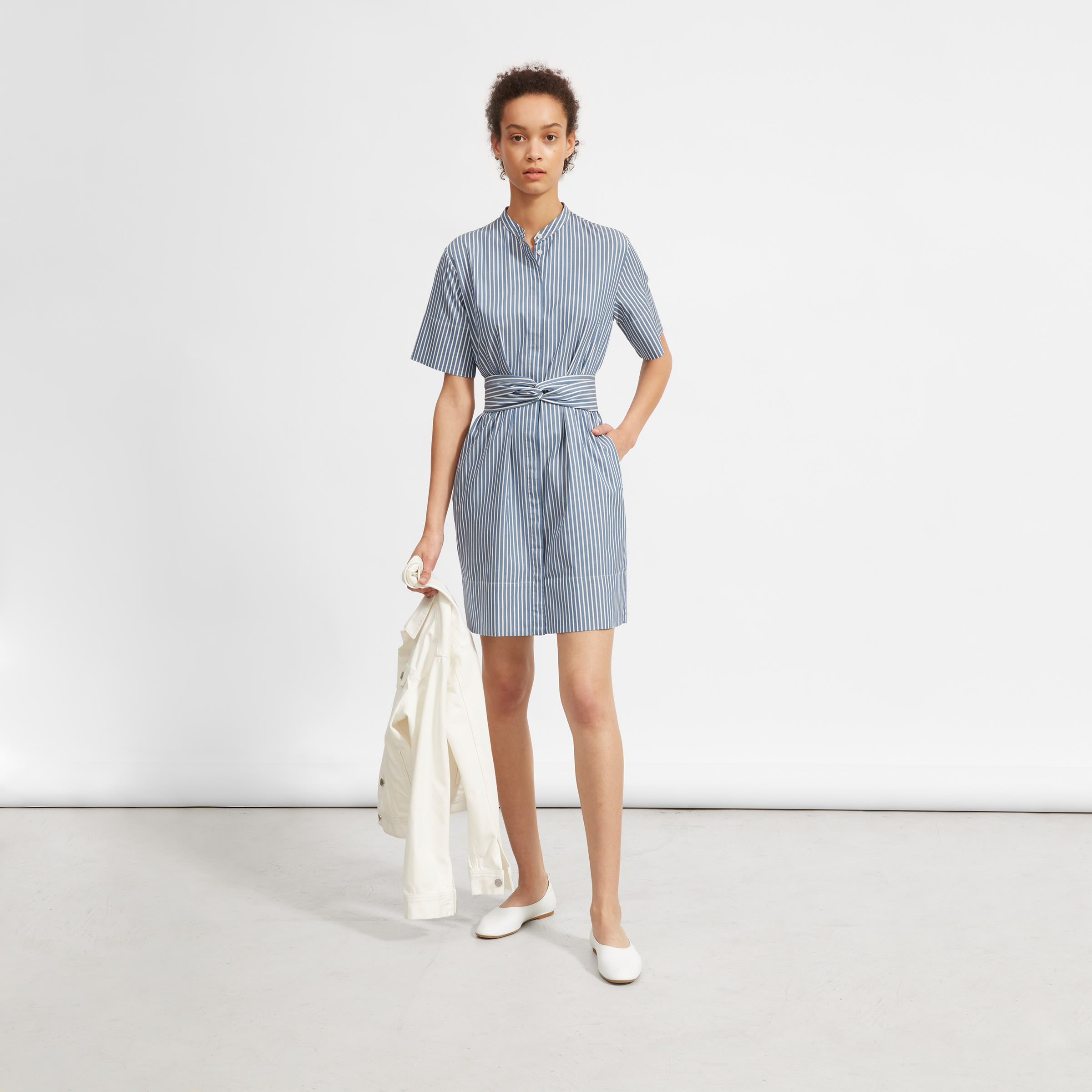 f23f89be862 Women s Cotton Collarless Belted Shirtdress