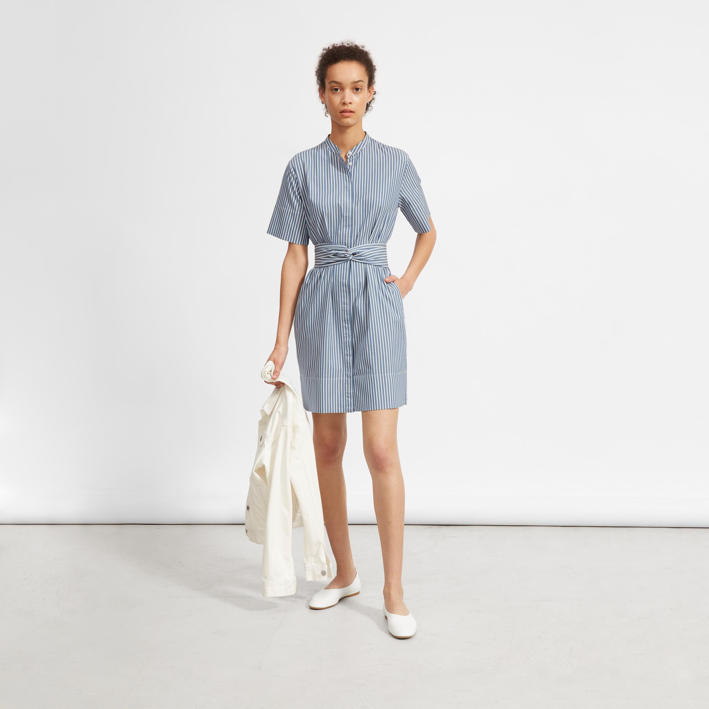 4c99f89df5f Women s Cotton Collarless Belted Shirtdress