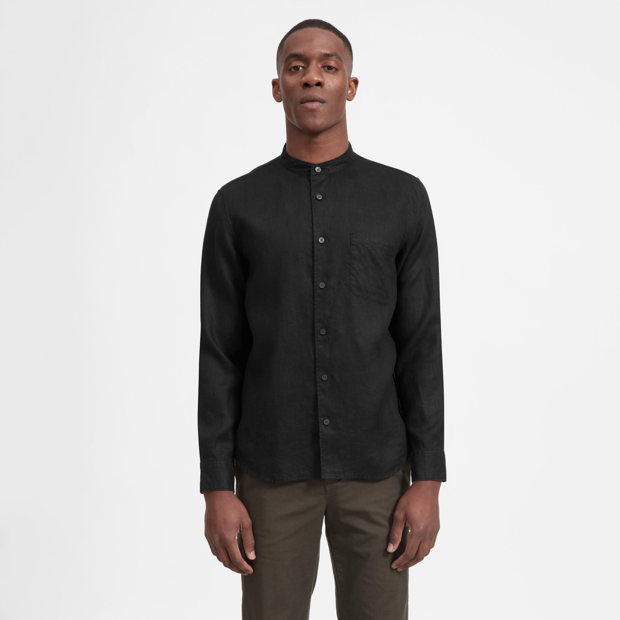 bd69be977 Men s Linen Band Collar Shirt