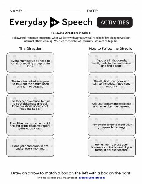 Following Directions in School
