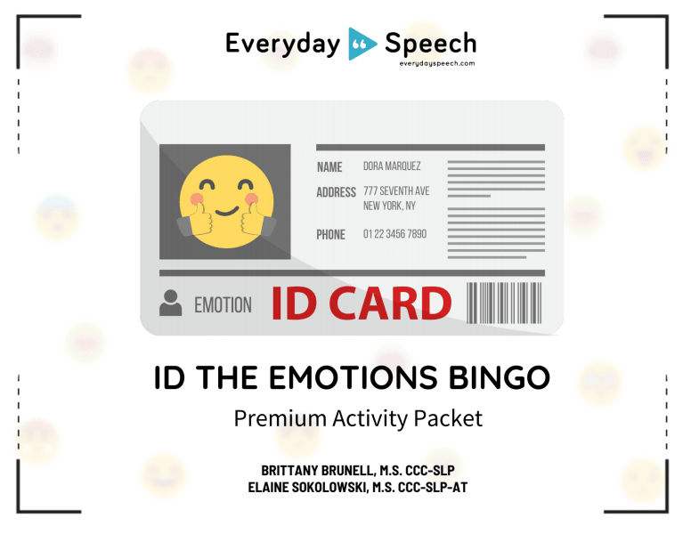 ID The Emotions Bingo Packet