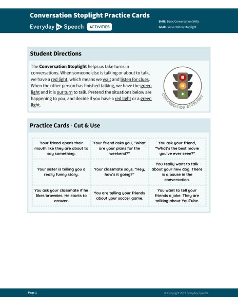 Conversation Stoplight Practice Cards