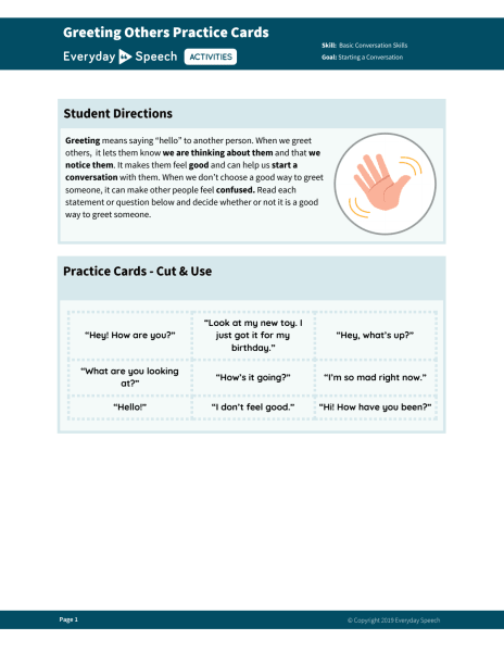 Greeting Others Practice Cards