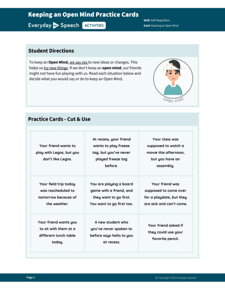 Keeping an Open Mind Practice Cards