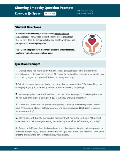 Showing Empathy Question Prompts