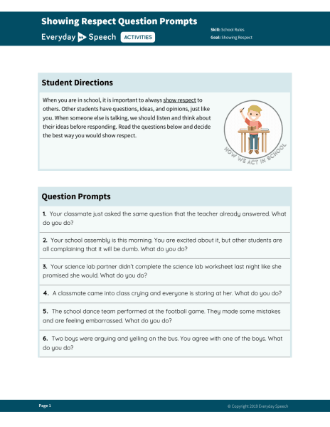 Showing Respect Question Prompts