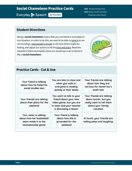 Social Chameleon Practice Cards