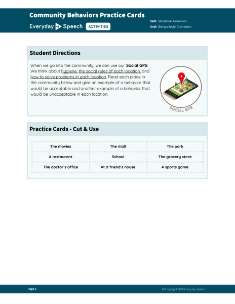 Community Behaviors Practice Cards
