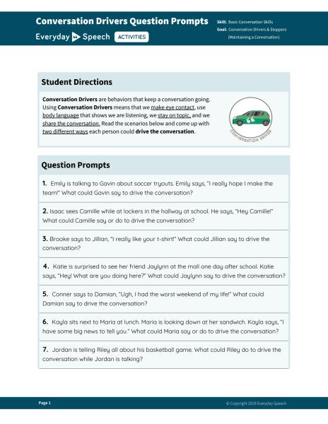Conversation Drivers Question Prompts
