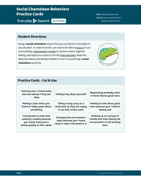 Social Chameleon Behavior Practice Cards