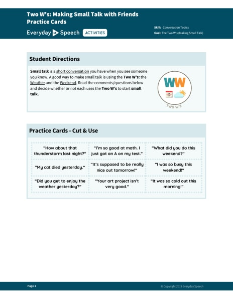 Two W's: Making Small Talk with Friends Practice Cards