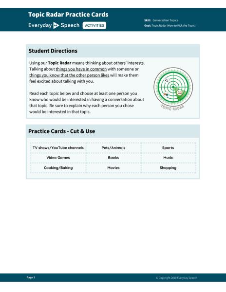 Topic Radar Practice Cards
