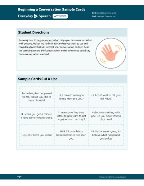 Beginning a Conversation Sample Cards