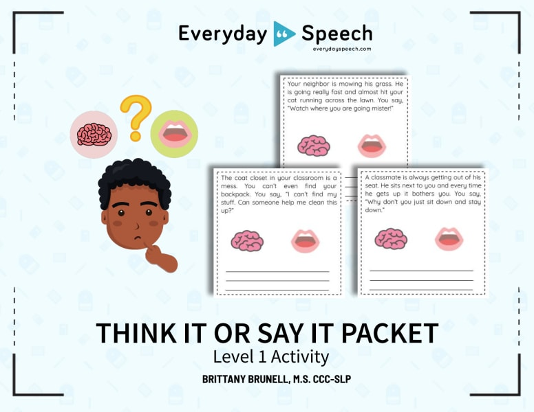Think It or Say It Packet Level 1 Activity