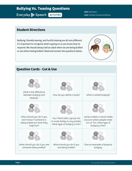 Bullying vs Teasing Questions