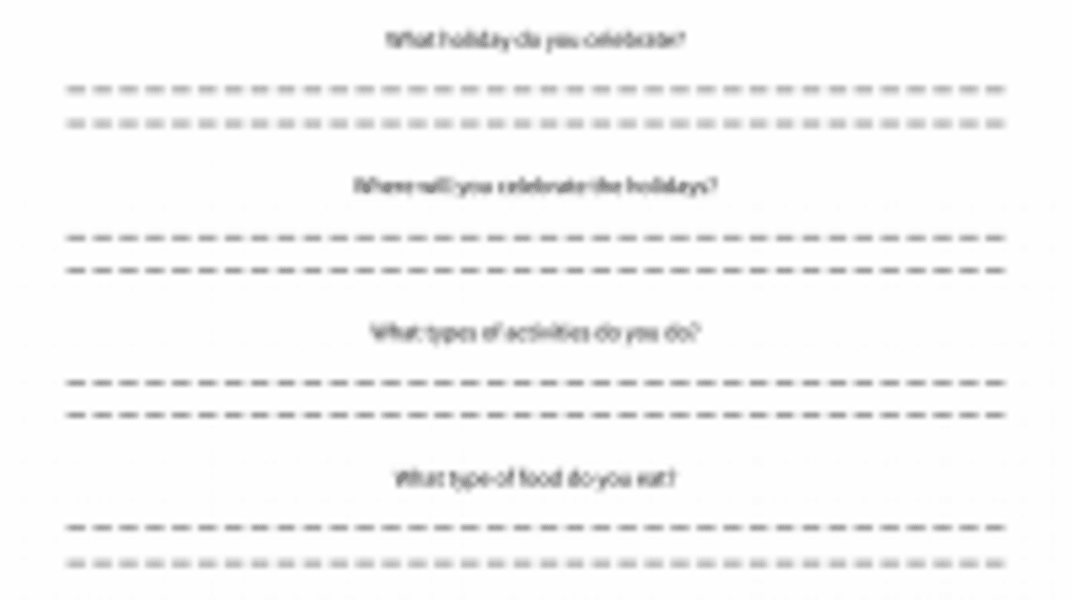 Interactive: Getting to Know About Each Other's Holidays