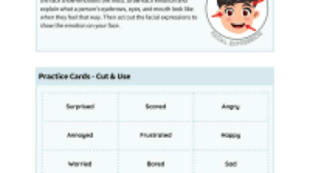Reading Facial Expressions Practice Cards