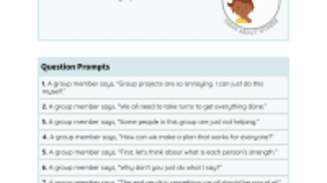 Listening While Working with Others Prompts