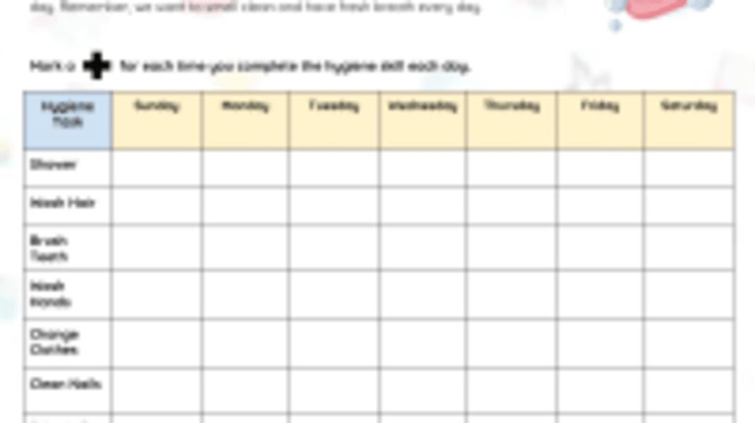 Hygiene Weekly Tracker