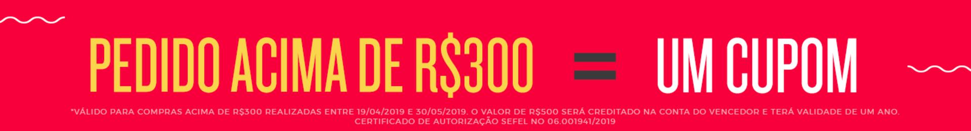 *Válido para compras acima de R$300 realizadas entre 19/04/2019 e 30/05/2019. O valor de R$500 será creditado na conta do vencedor e terá validade de um ano. **Certificado de autorização SEFEL N.O. 06 001941/2019 ***Confira o regulamento completo em evi.no/regulamento.