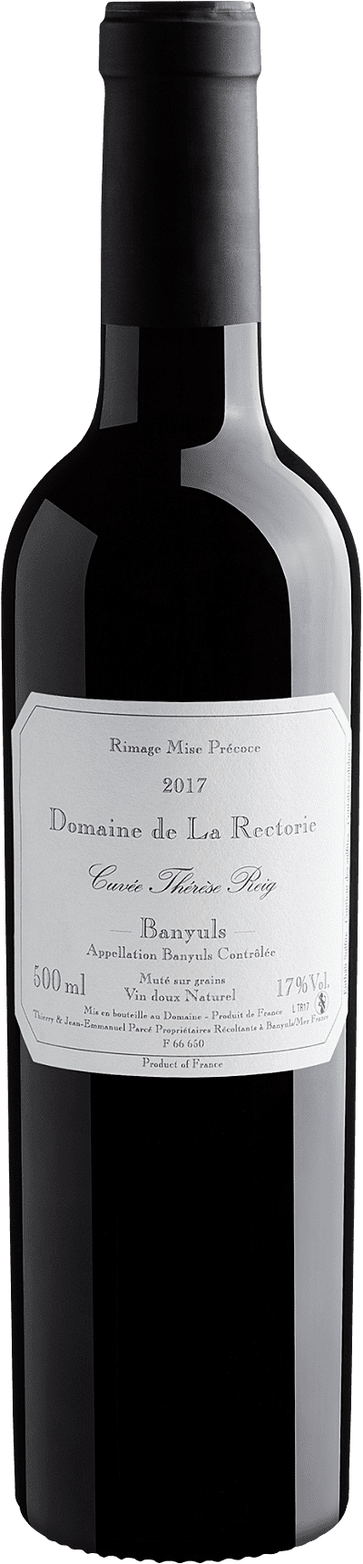 Vinho Fortificado - Domaine de La Rectorie Banyuls Rimage Therese Reig 2017 50cl - França