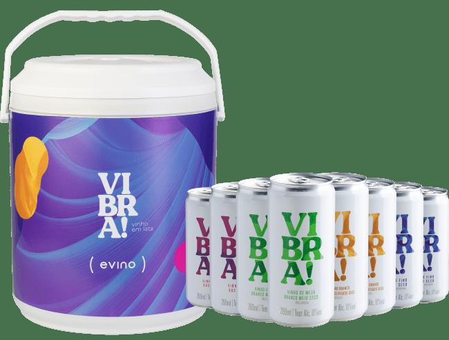 Kit Vibra! - 8 Vinhos em Lata + Cooler - Brasil