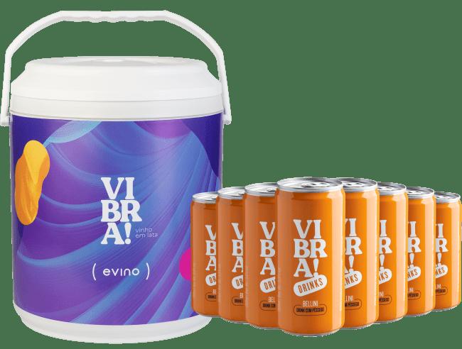 Kit Vibra! Drinks - 8 Latas de Bellini + Cooler Exclusivo - Brasil