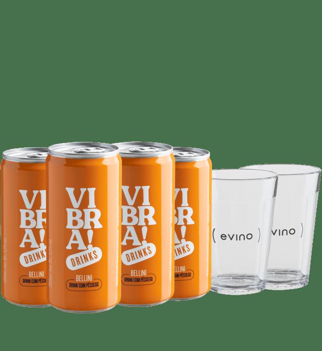 Kit Vibra! Drinks - Bellini - 4 drinks em lata + 2 Copos americanos - Brasil