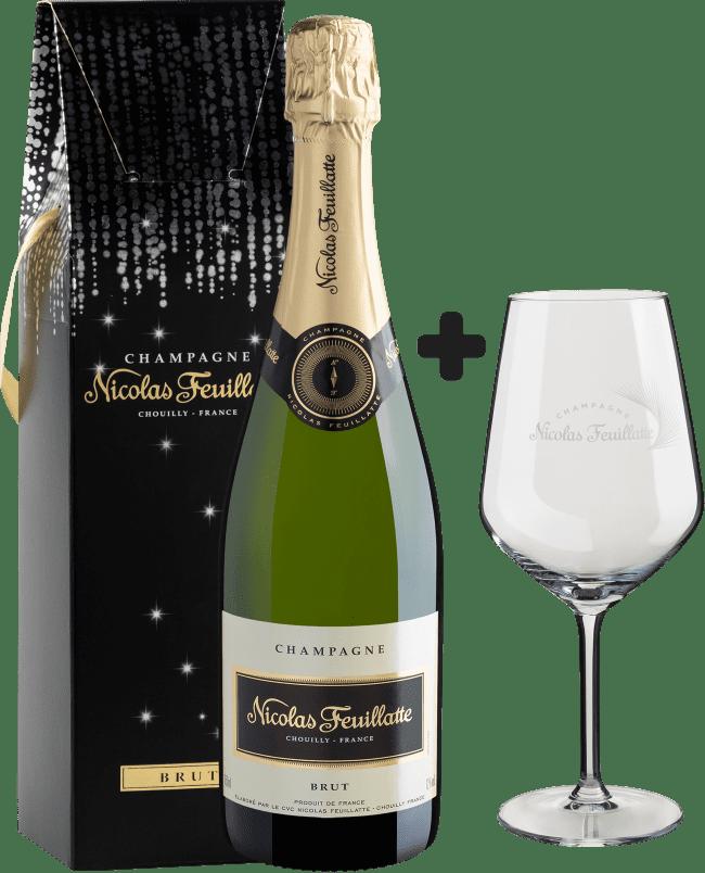 Champagne Nicolas Feuillate Brut + Taça de Cristal Exclusiva - França