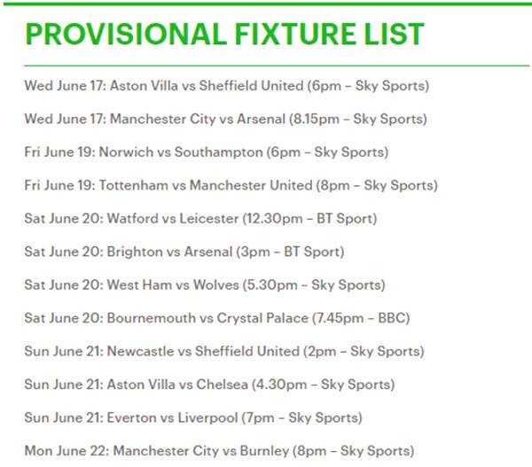 Premiership official closing schedule: MU Tottenham when?