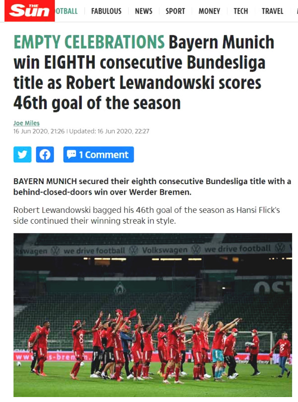 Bayern Munich Bundesliga 8 consecutive years: World Press multiples for