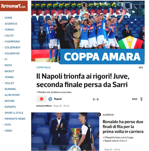 Juventus lost the final: Real gloating sambhogakaya Ronaldo, criticized poor financial Sarri
