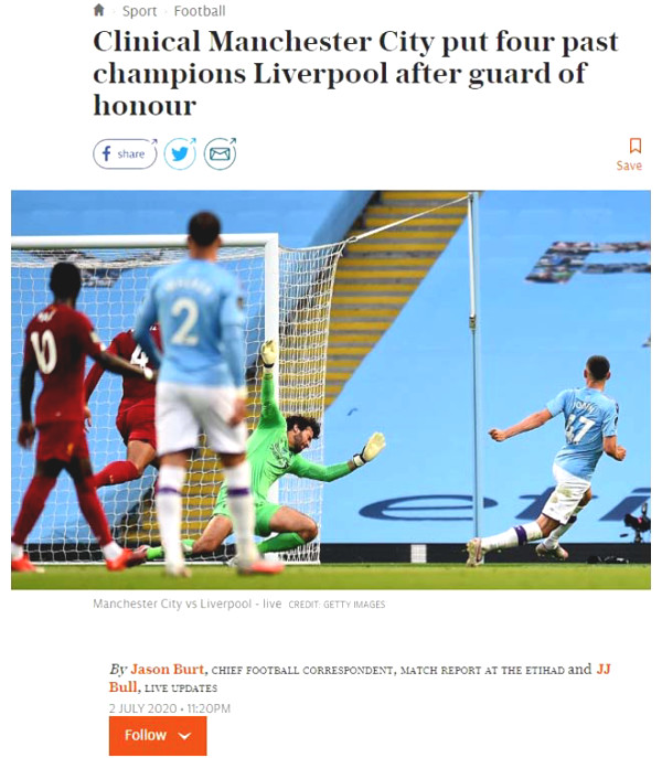 Liverpool lost carpet Man City: British newspapers criticized tattered Premiership new king