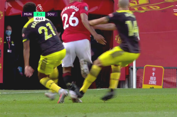 "Controversy: Southampton player ""destroy"" MU Greenwood, still escape a red card"