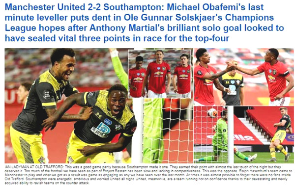 "MU lost at 90 min + 6: The British press praised opponent, indicated ""black spots"" Pogba"