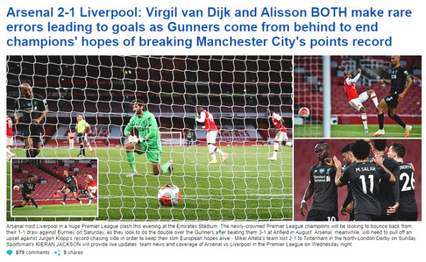 Liverpool lost to Arsenal vice: British newspapers compete to attack 2