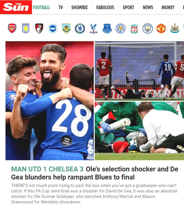 Manchester United lost to Chelsea carpet: British newspapers criticized Solskjaer for?