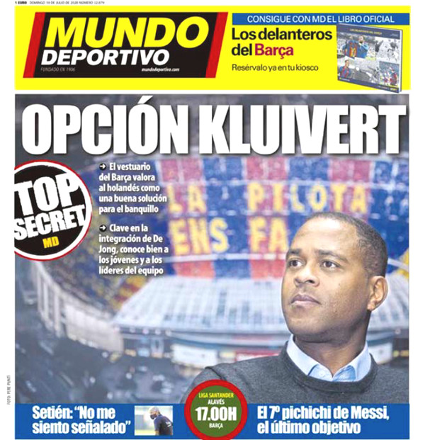 Coach at Barca Setien dying chairs, staging SAO recommended power Kluivert